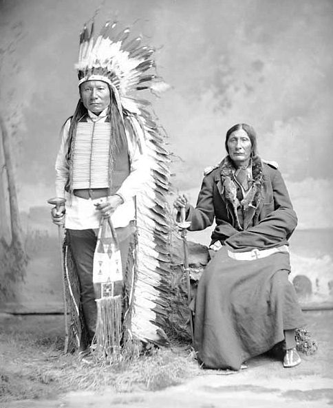 An old photograph of Fast Thunder and Spotted Horse - Oglala.