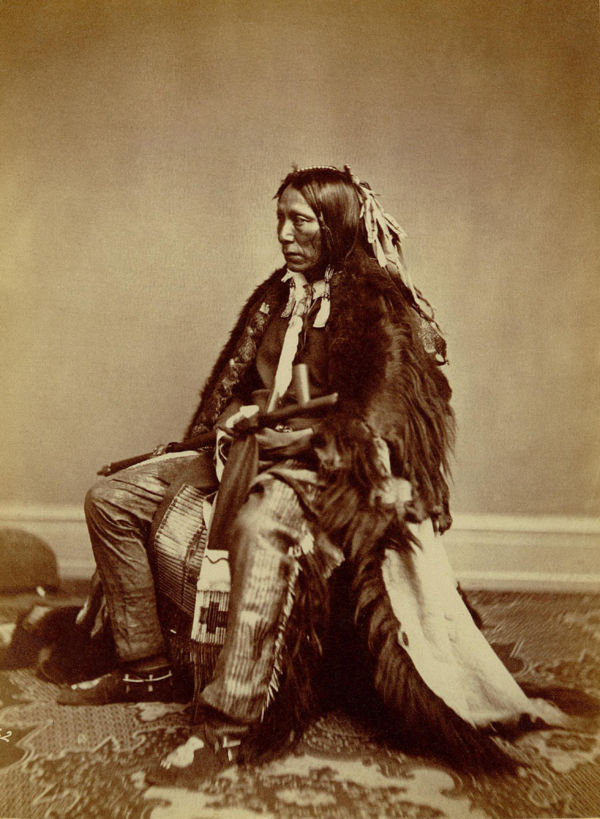 An old photograph of Feather In The Ear (or Earrings) aka Wiyaka-Noghe or Wi-Ya-Ka-No-Ge or Wi-Ya-Ko-Mi - Yankton 1867.