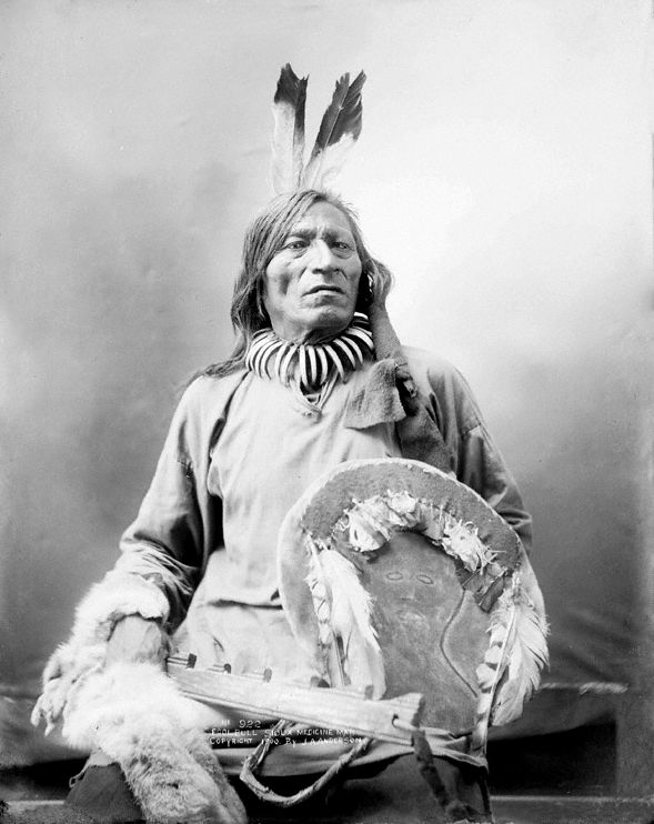 An old photograph of Fool Bull aka Tatanka Witko - Brule Sioux Medicine Man [A].