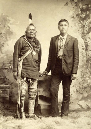 An old photograph of George Kit-kah-hak with son, William Pollock - Pawnee.