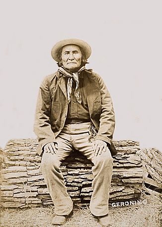 An old photograph of Geronimo - Apache Chief at Fort Sill Military Reservation [A].