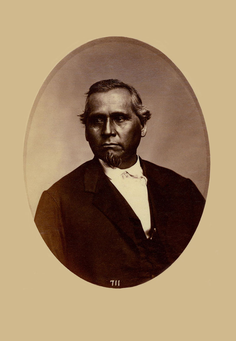 An old photograph of Graham Rodgers aka Wa-wa-si-mo aka Wa-wa-si-si-mo - Shawnee (possibly 1857-58).