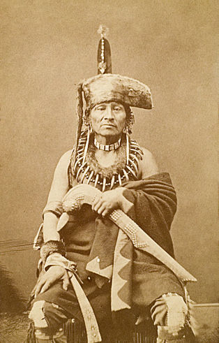 An old photograph of the Grandson of Old Black Hawk - Sac c1867.