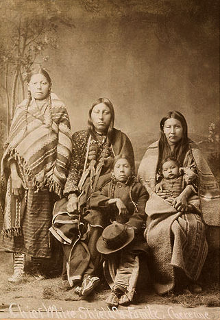 An old photograph of Harvey White Shield and Family - Southern Cheyenne 1900.