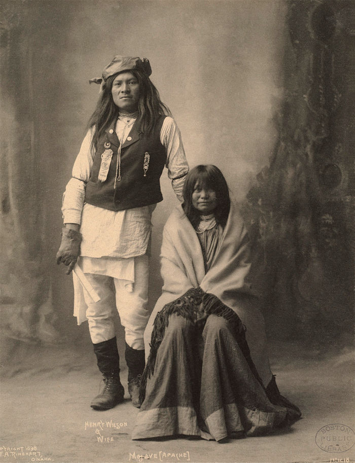 An old photograph of Henry Wilson and Wife - Mojave Apache 1898.