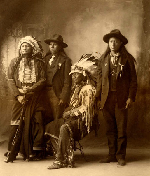 An old photograph of Hollow Horn Bear aka Mato He Oklogeca with Sons - Brule Sioux Chief 1898.