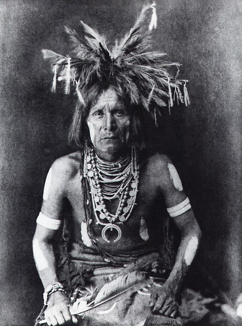 An old photograph of Hopi Snake Priest 1900.