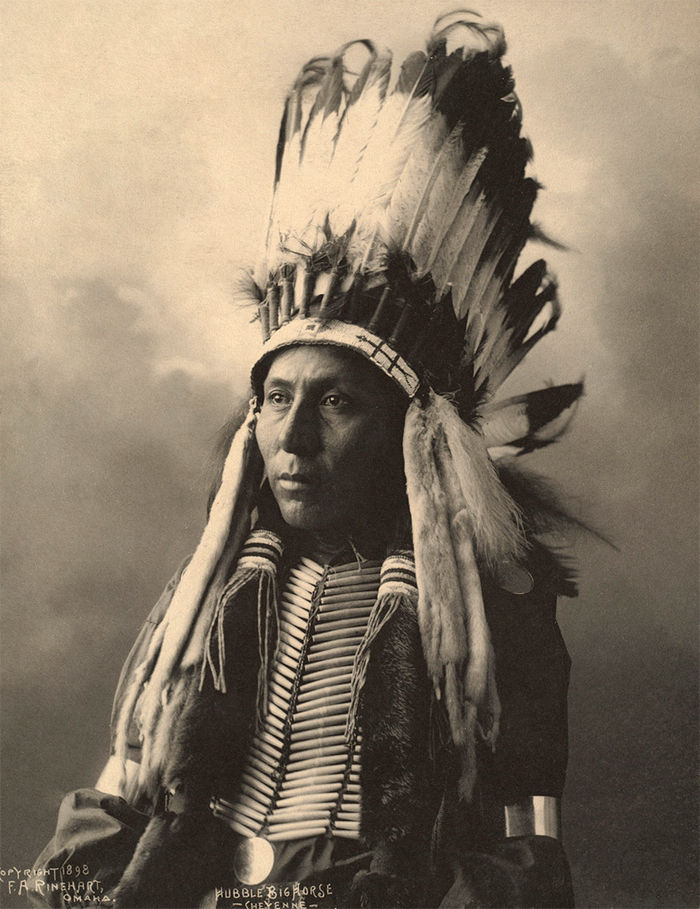 An old photograph of Hubble Big Horse - Cheyenne 1898.
