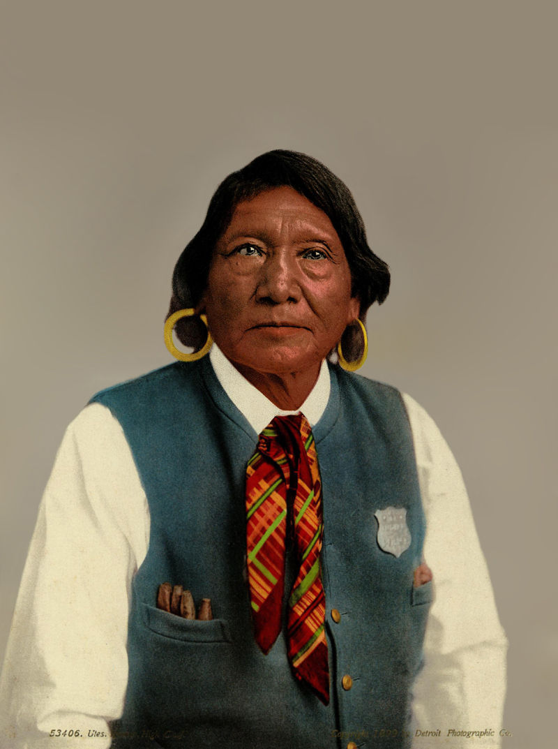 An old photograph of Ignacio - Ute High Chief 1899 [Colorized].