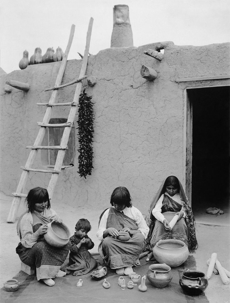 An old photograph of Indians of Santa Clara Pueblo, New Mexico.