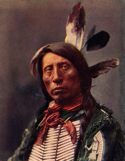 An old photograph of Jack Red Cloud - Oglala 1899 [Colorized].