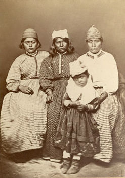 An old photograph of Jacks Family, Lizzy Mary Old Wife and Daughter - Modoc.