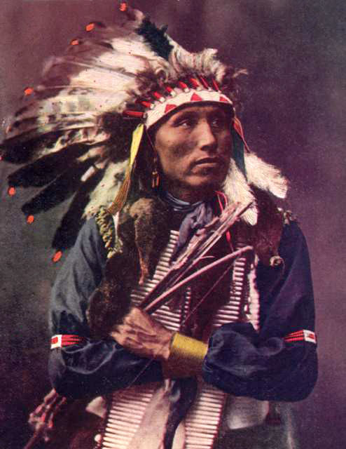 An old photograph of James Lone Elk - Oglala c1910 [Colorized].
