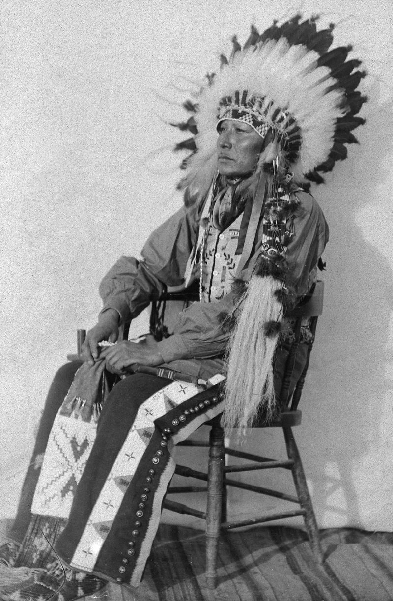 An old photograph of Jessee Hale in Ceremonial Dress - Potawatomi.