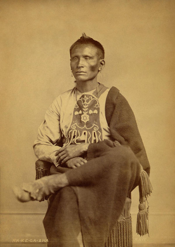 An old photograph of Ka-ke-ga-sha - Kaw 1868.