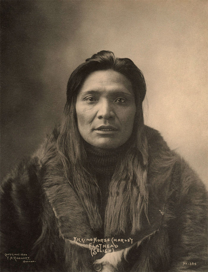An old photograph of Kicking Horse Charley - Flathead Selish 1899.
