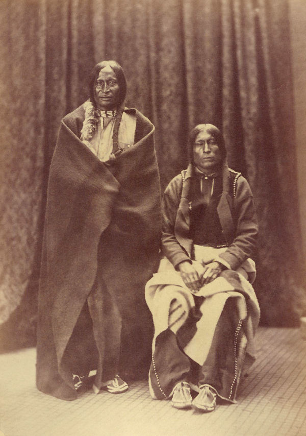 An old photograph of Lame White Man and Wild Hog - Cheyenne 1871-73.