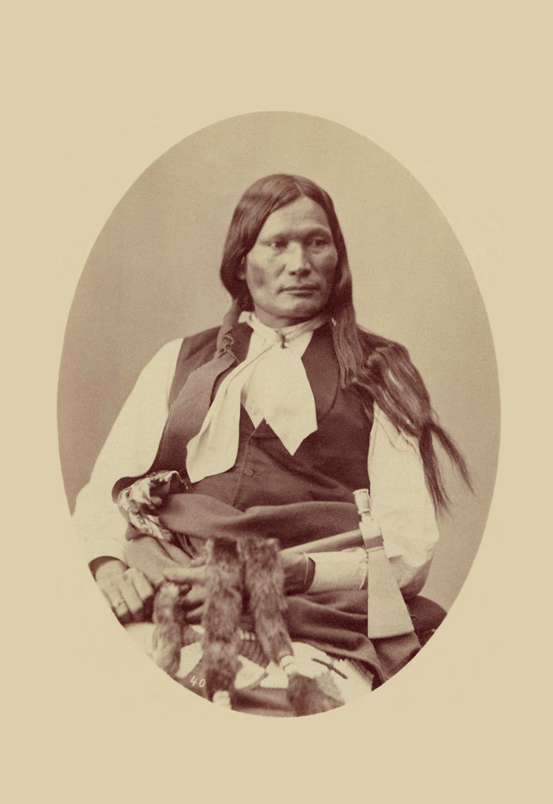 An old photograph of Left Hand aka Nawat - Arapaho 1871-73.