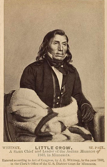 An old photograph of Little Crow aka Hawk That Hunts Walking aka His People Are Red - Mdewakanton 1862.