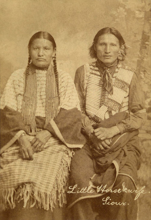 An old photograph of Little Horse and Wife - Sioux.