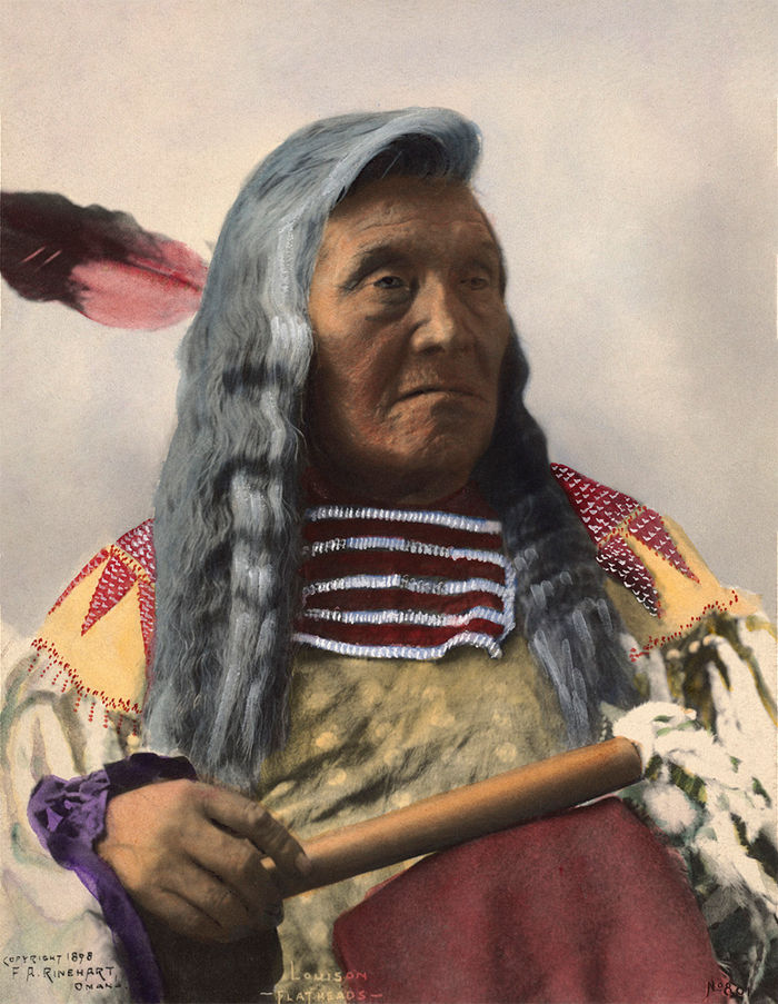 An old photograph of Louison - Flathead Chief 1898 [Colorized].