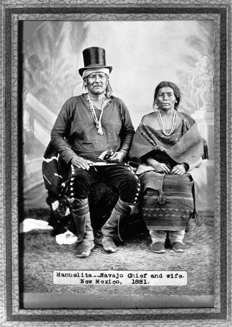 An old photograph of Manuelita - Navajo Chief with Wife 1881.