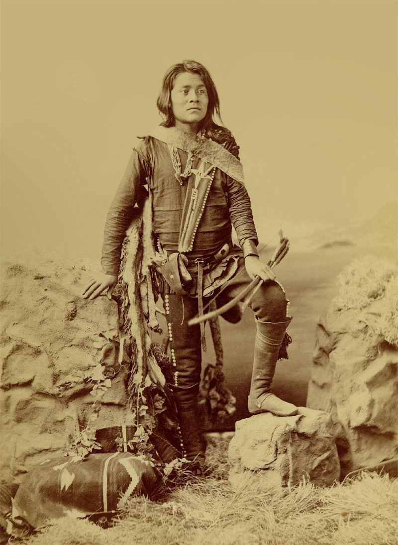 An old photograph of Manuelito Segundo, Son of Chief Manuelito and Juanita - Navajo 1874-5.