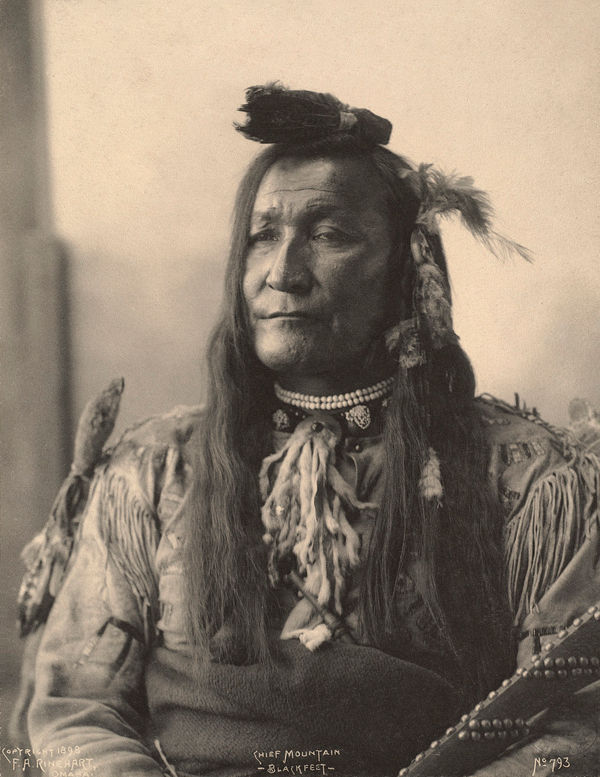 An old photograph of Mountain Chief aka Ninastoko - Blackfeet 1898.
