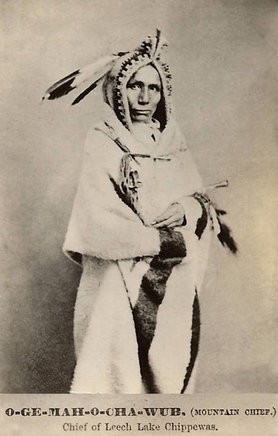 An old photograph of Mountain Chief aka O-Ge-Mah-O-Cha-Wub - Leech Lake Chippewa Chief.