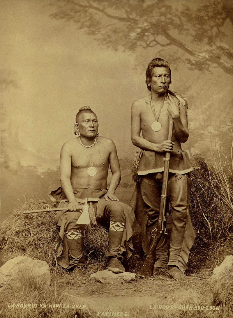 An old photograph of Night Chief aka La-rod-rut-ka-haw-la-shar with A Man That Left His Enemy Lying In The Water aka La-rod-ra-shar-roo-cosh - Pawnee 1868.