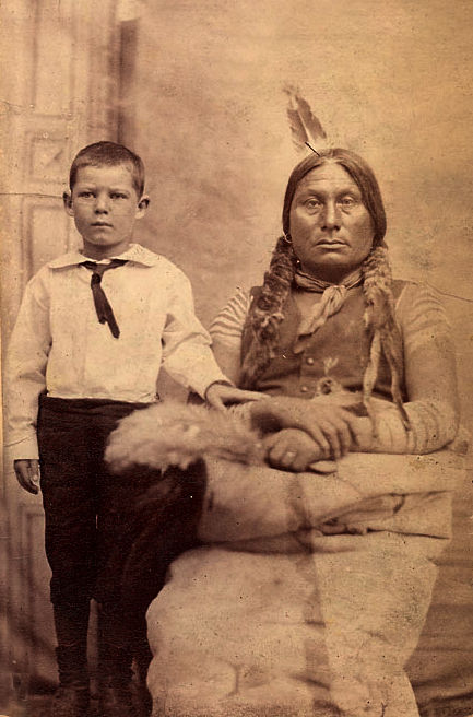 An old photograph of Non Indian Boy and Gall - Hunkpapa.