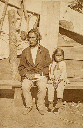 An old photograph of an Ojibwa Father and Son c1870.