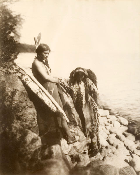 An old photograph of Ojibway Indian Women.