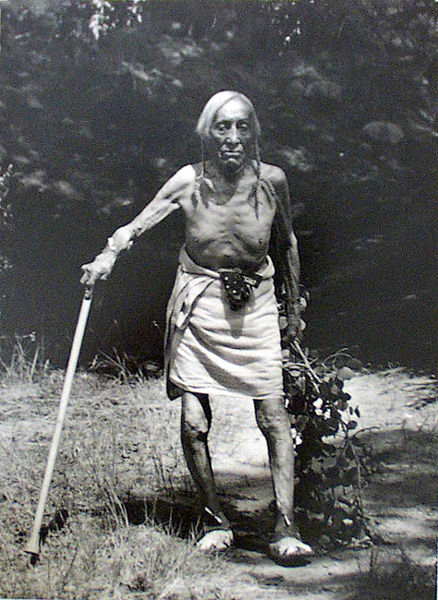An old photograph of an Old Man at Picuris - Pueblo.