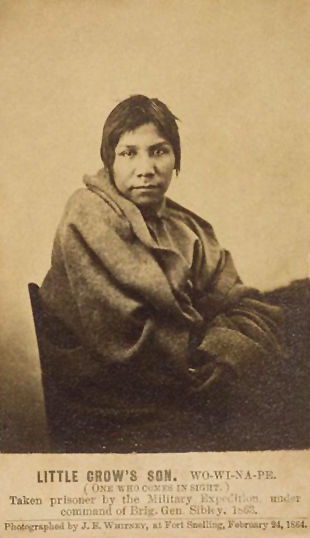 An old photograph of One Who Comes In Sight aka Wo-Wi-Na-Pe - Mdewakanton 1864.