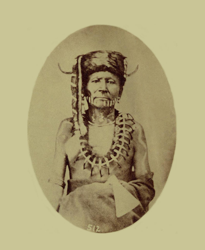 An old photograph of One Who Reaches To The Sky aka Mah-kea-pu-at-see - Osage 1877.