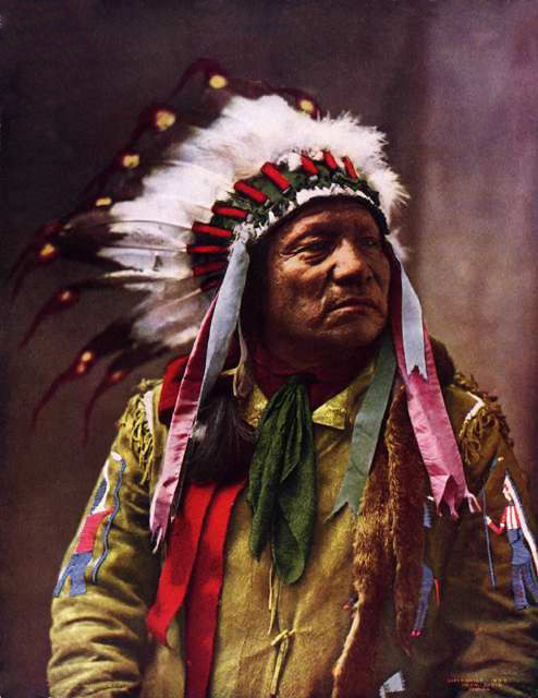 An old photograph of Painted Horse - Oglala 1899 [Colorized].