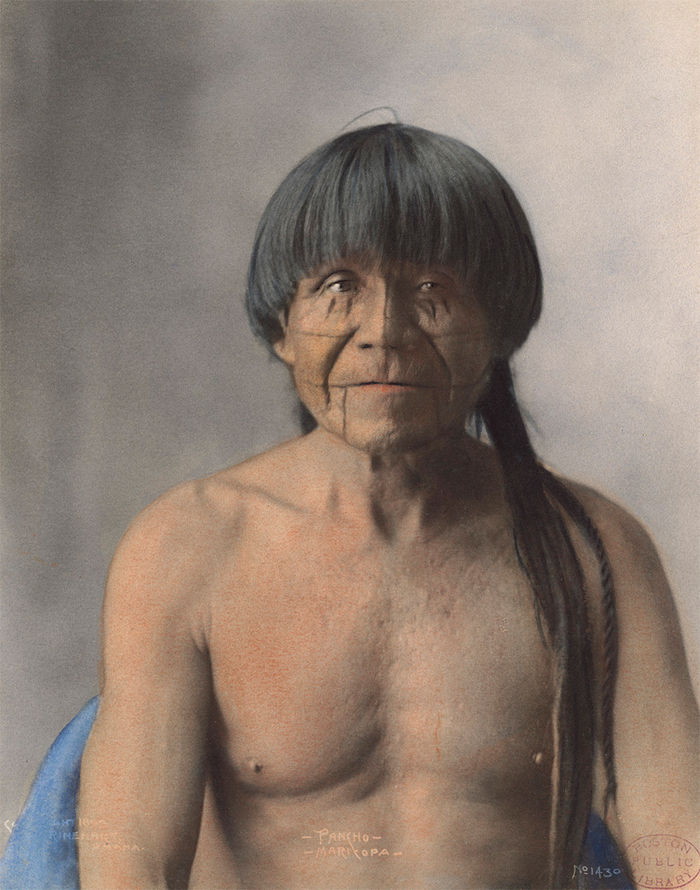 An old photograph of Pancho - Maricopa 1899 [Colorized].