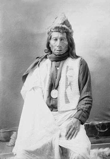 An old photograph of Picket Pin aka Wihinpaspa Wearing a Beaded Vest - Dakota Sioux Chief.