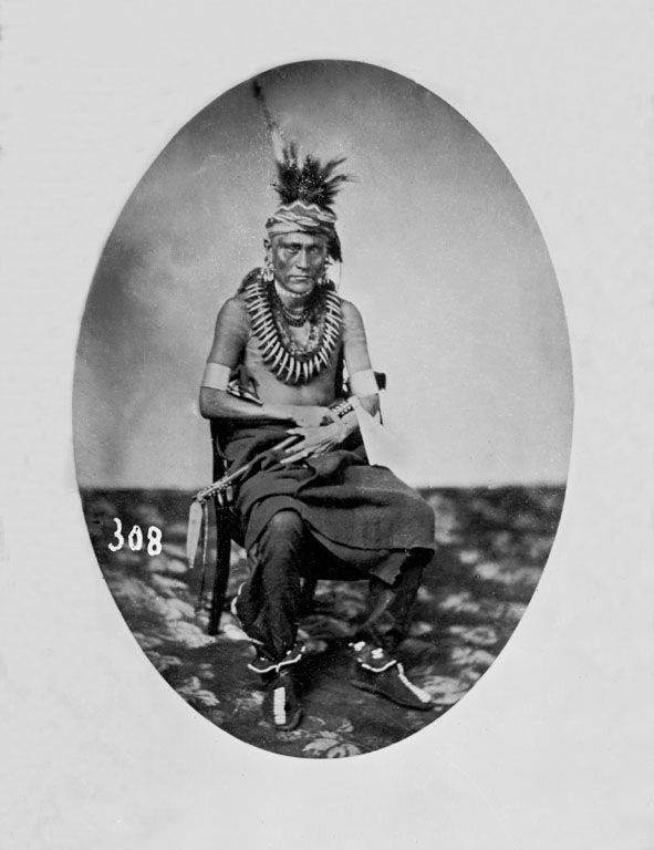 An old photograph of Pipe Chief - Pawnee 1858.
