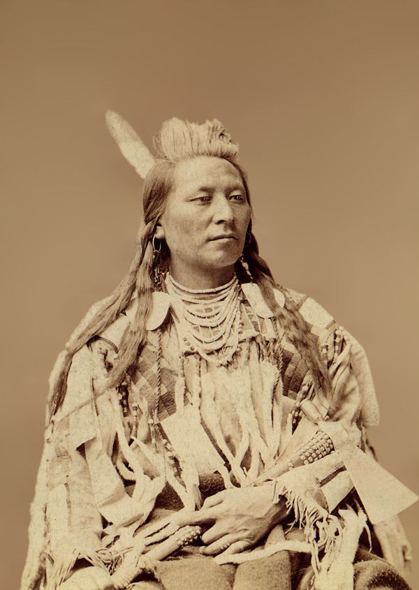 An old photograph of Plenty Coups aka Yshidiapas aka Aleek-chea-ahoosh - Crow Chief 1880.