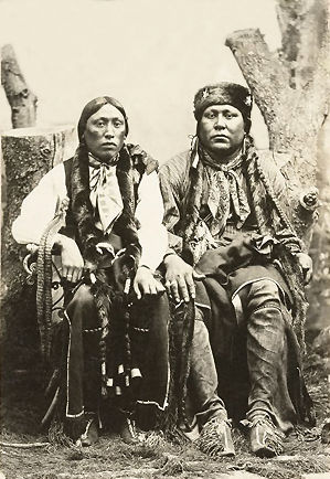 An old photograph of Post Oak Jim (right) and His Brother - Comanche 1895.