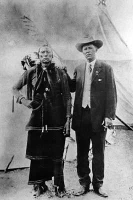 An old photograph of Quanah Parker (Comanche) with Tom Burnett 1908.