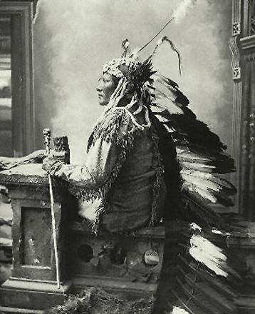 An old photograph of Rain In The Face - Hunkpapa 1880.