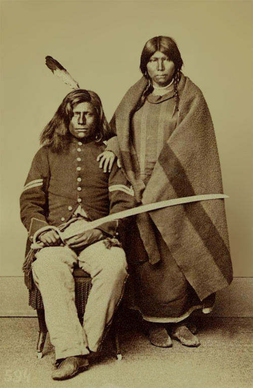 An old photograph of Rattlesnake aka Loots-tow-oos and Squaw 1868.