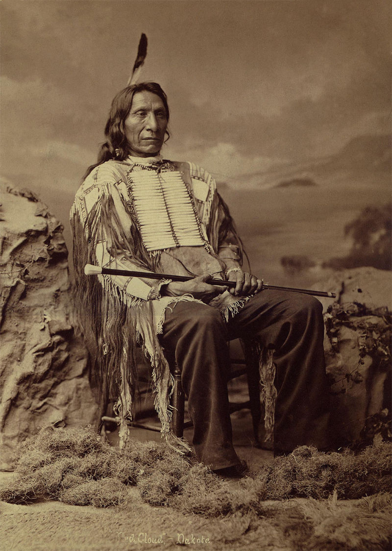 An old photograph of Red Cloud or Scarlet Cloud aka Makhpiya-luta or Ma-kpe-ah-lou-tah - Oglala Sioux 1880 [A].