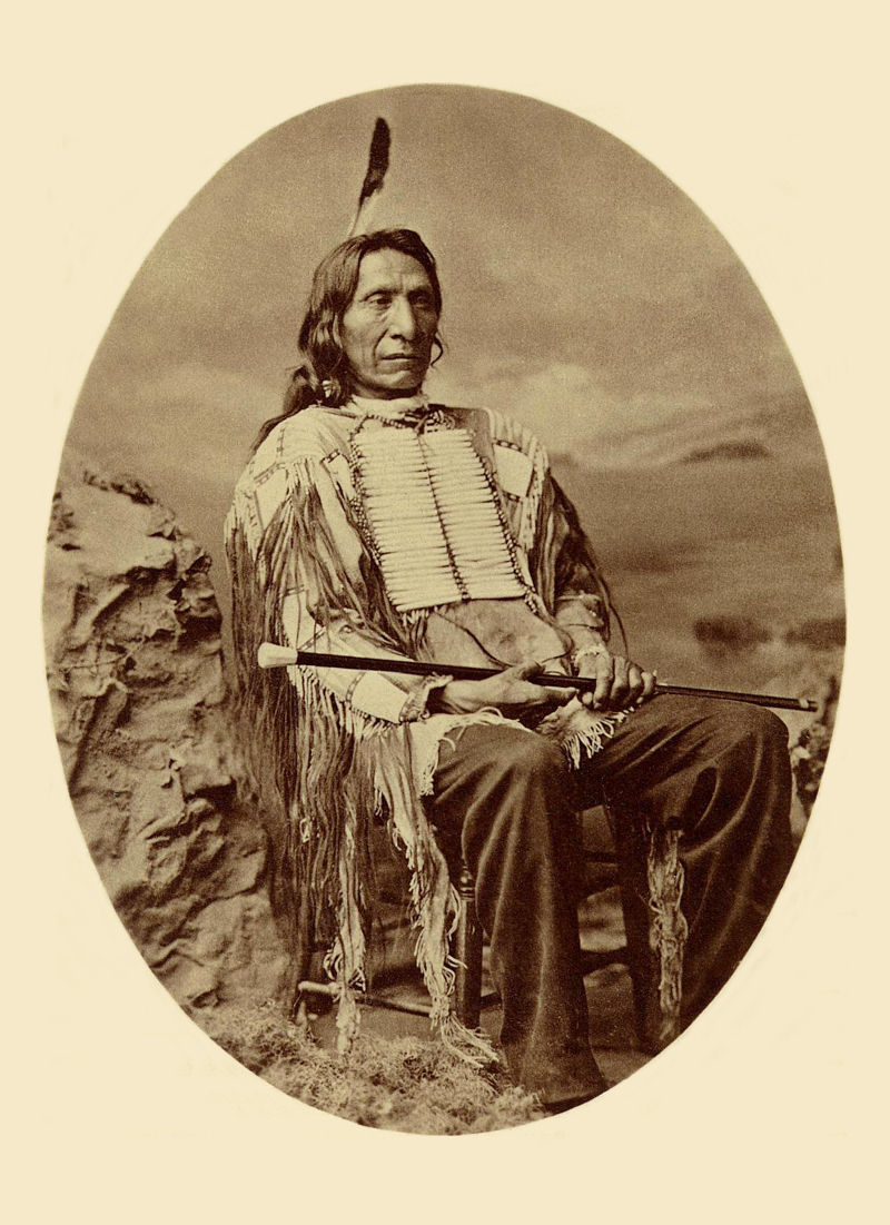 An old photograph of Red Cloud or Scarlet Cloud aka Makhpiya-luta or Ma-kpe-ah-lou-tah - Oglala Sioux 1880 [AA].