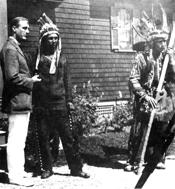 An old photograph of Roosevelt Meeting with Governor Neptune, an Iroquois Chief.