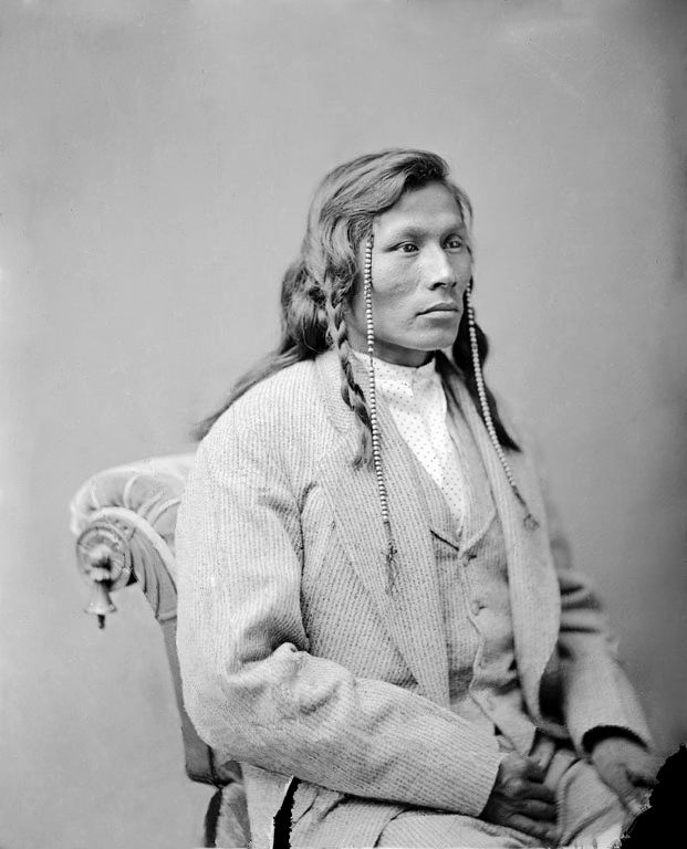 An old photograph of Running Face aka E-Sta-Poo-Sta, Son of Red Cow - Mandan 1874.