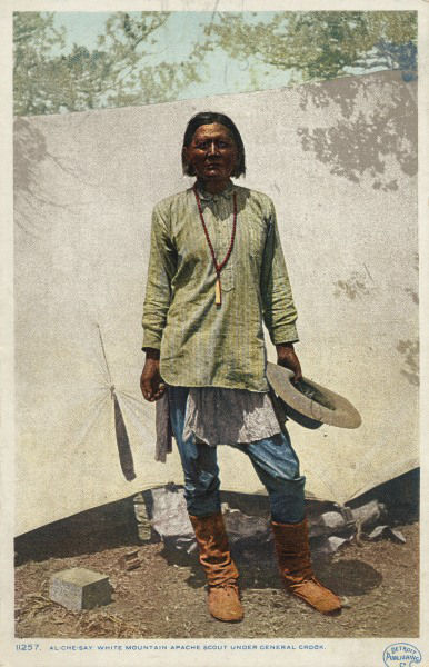 An old photograph of Sergeant William Al-che-say - White Mountain Apache c1880 [Colorized].